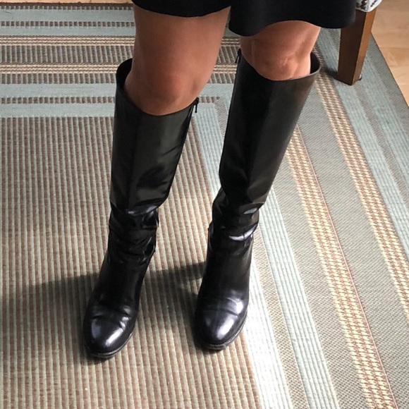 352a1025215 Cole Haan Shoes - Cole Haan shiny black leather knee high boots